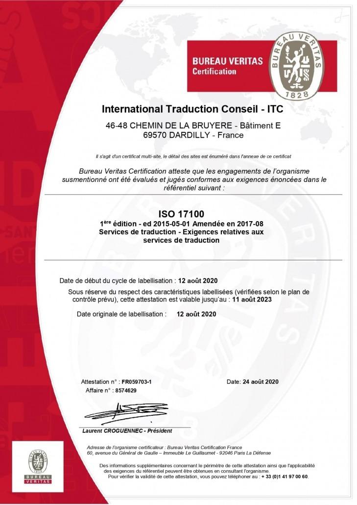 Certificat ISO 17100 ITC Traductions